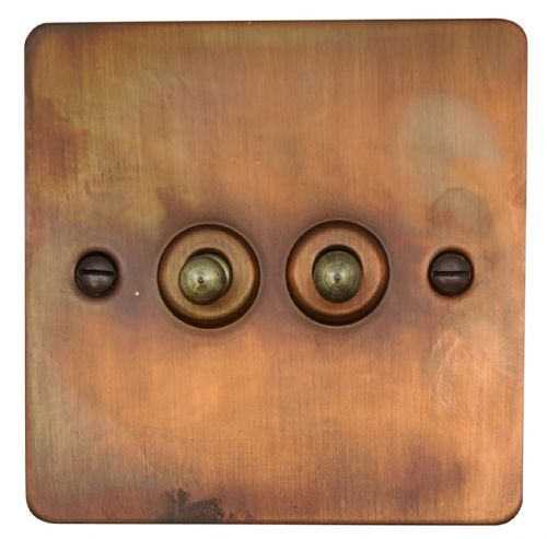 G&H FTC282 Flat Plate Tarnished Copper 2 Gang 1 or 2 Way Toggle Light Switch